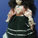 "Heritage Mint Collection 16"" Porcelain Doll - Green Pink Dress 1989 Vintage"