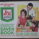 Sperry Hutchinson S&H Green Stamp Quick Saver Book 1200 Stamps Full 1965 Vintage