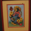 Anthropomorphic Crow Lady Matted and Framed Needlepoint Wall Hanging - 1980s Vintage