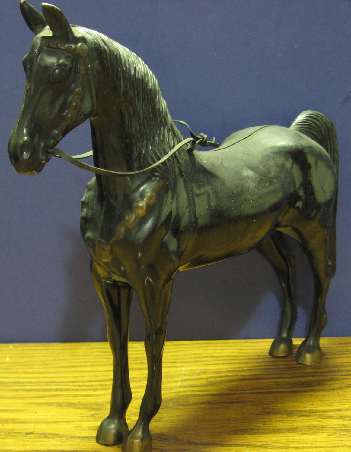 "Generic Plastic Horse Toy / Figure - Black - 10"" - Faded Gold Trim - 1950s Vtg"