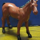 """Imperial Toys Brown Plastic Horse Toy 1975 Vintage 5"""" Tall 5 1/2"""" Long"""