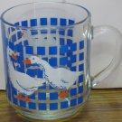 "Carlton Ducks Clear Glass Mug / Cup - 3 1/2"" x 3"" - 1982 Vintage"