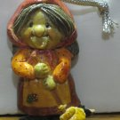 """EDR Christmas Ornament - Granny With Her Broom - 3"""" - 1981 Vintage"""