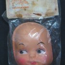 "Plastic Doll Face - 1970s or 1980s Vintage - 3"" x 2.25"" - New in Damaged Package"
