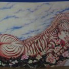 Olivia De Berardinis Pinup Card Zebra Girl with Big Bare Booty 1981 Vintage