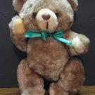 "Animal Toys Plus 10"" Plush Teddy Bear with Green Ribbon - 1981 Vintage"