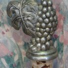 Reusable Wine Bottle Cork with Pewter Grape Cluster Handle - 1980s / 1990s Vintage
