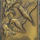 Bronze Gift Hummingbirds Friendship Poem Medallion – Gerald Henry – 1990 Vintage