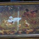 """Framed Ducks Art Print - Constant Artz : The Family - 5"""" x 7"""" - 1985 Vintage"""