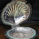 Silverplate on Tin with Glass Inner Tray Clamshell Ash Tray / Soap Dish - Leonard - 1970s Vintage