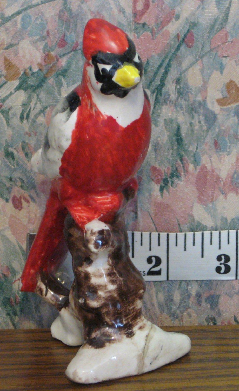 """Ceramic or Porcelain Red Cardinal Glazed Figurine - 5"""" - Japan - 1960s / 1970s Vintage"""