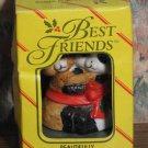 """Best Friends Bear and Panda 2 1/2"""" Bisque Porcelain Christmas Ornament - 1980s Vintage"""