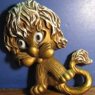 "Universal Statuary Corp Cartoony Chibi Gold Lion Wall Plaque - 12"" - 1970 Vintage"