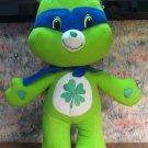 "Care Bears Good Luck Bear 14"" Plush - Super Hero In Cape and Mask - Nanco - 2009"
