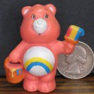 "Care Bears Cheer Bear Painter 2"" PVC Figurine - American Greetings - 1983 Vintage"