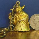 Star Wars Yoda Gold Colored or Gold Plated Pewter Keychain - 1997 Vintage