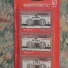 Sony MC60 Microcassette 3 Pack - 60 Minute Micro Cassette Tapes - 2002 Vintage