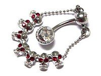 Reverse SKULLS red crystal gothic navel belly ring BJ38
