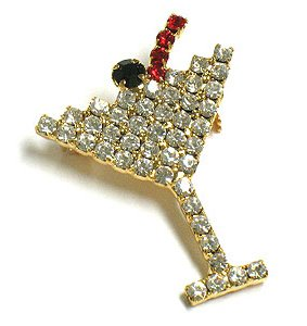 Crystal Pave Martini Glass Cocktail Drink Brooch Pin BP58