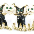 Adorable Black and White Cat Kitten Brooch Pin Broach BP39
