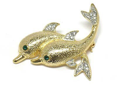 14K Gold EP Textured Dolphin Crystal Brooch Pin Broach BP26