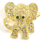Adorable Crystal Pave Elephant 14K Gold EP Brooch Pin Broach BP41
