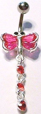 Pink Dragonfly Red Crystal Dangle Belly Navel Ring BJ35