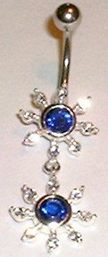 Blue Crystal Sun Dangle Navel Belly Button Ring BJ33