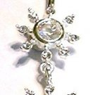 Clear Crystal Sun Dangle Navel Belly Button Ring BJ32
