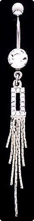 Crystal Pave Dangle RECTANGLE Navel Belly Button Ring BJ11