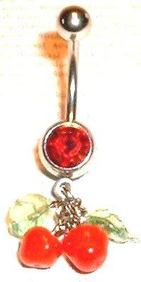 Glass Cherry Cherries Dangle Belly Navel Ring BJ27