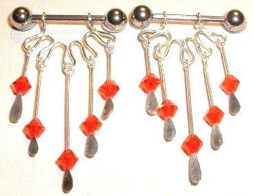 Pair of 2 RED Crystal Dangle Nipple Shield Rings BJ61