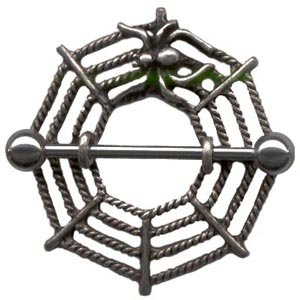 Pair of 2 Spider Web Nipple Shields Rings BJ58