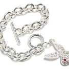 Crystal Pave Bunny Charm Rhodium Finish Toggle Bracelet BR07