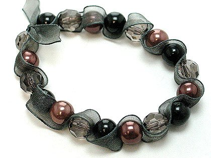 Black ribbon wrapped glass pearl stretch bracelet BR17