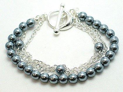 Multi strands lucite beads & chains magnetic bracelet BR70