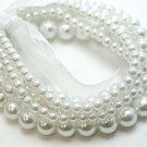 Elegant 5 strands Creamy Pearls with ribbon stretch bracelet BR20