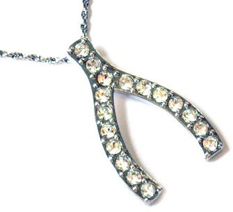 Lucky Crystal Wishbone Pendant Necklace NP24
