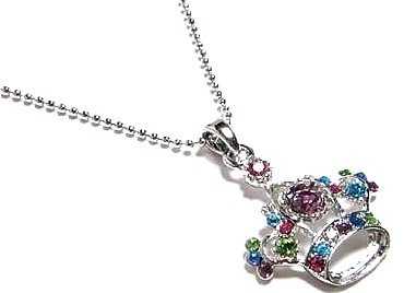 Multi Color Crystal Crown Pendant Necklace NP38