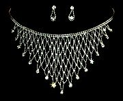 Crystal Chain Link Bib Necklace Set NP03