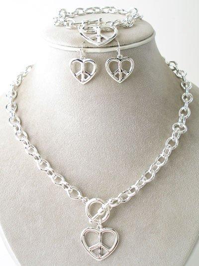 3 PC SET VIP Peace Sign Heart Necklace Bracelet Earrings NP142