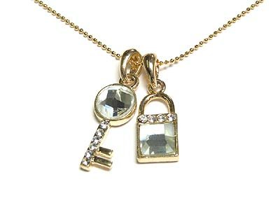 Gold CZ Lock and Key Pendant Necklace NP39