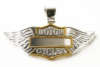 "Large 3"" Motorcycle Wings Motorcycles 2 Tone Engravable Badge Pendant"