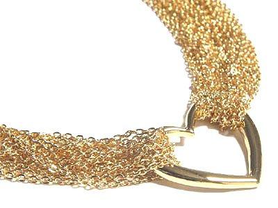 Stunning Multichain 14K Gold EP Heart Choker Necklace NP78