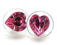 8mm Sparkling Pink SWAROVSKI Crystal HEART Stud Post Earrings EA62