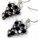 Adorable Black / Clear Sparkling Swarovski Crystal Grape Dangle Earrings EA66