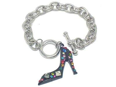 BLACK High Fashion Crystal Pave Stiletto Shoe Rhodium Finish Charm Bracelet BR09