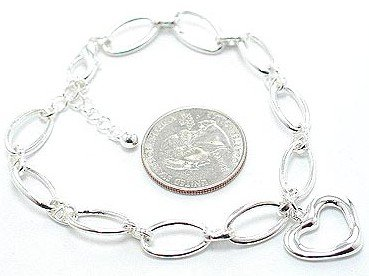 Beautiful Silver Hollow Heart Chain Link Charm Bracelet BR49