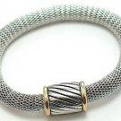 Trendy Magnetic Fastening Barrel Silver Mesh Bracelet BR33