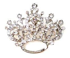 Austrian Crystal Crown Rhodium Plated Brooch BP59